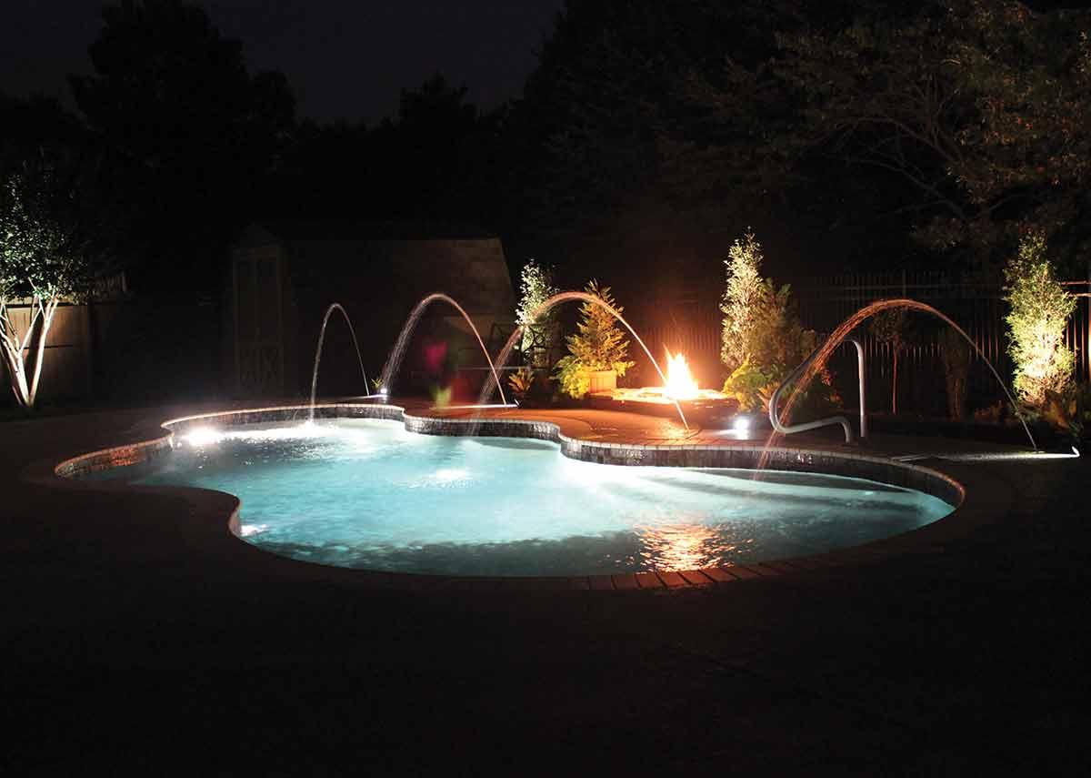 Axiom-fiberglass-pool-night